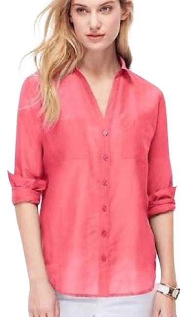 Preload https://img-static.tradesy.com/item/21287371/ann-taylor-bright-pink-begonia-two-pocket-silky-blouse-button-down-top-size-6-s-0-1-650-650.jpg