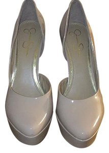 Jessica Simpson Patent Leather Fashion Heel Tan Pumps