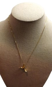 14KT Gold Necklace Beautiful Hummingbird Necklace, Stamped 585 Italy