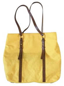 Banana Republic Tote in Yellow with brown leather straps