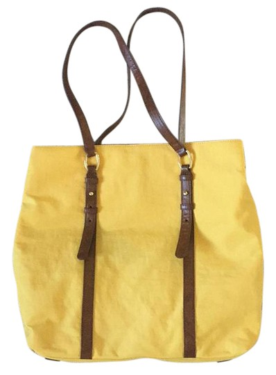 Preload https://img-static.tradesy.com/item/21287838/banana-republic-yellow-with-brown-leather-straps-tote-0-1-540-540.jpg