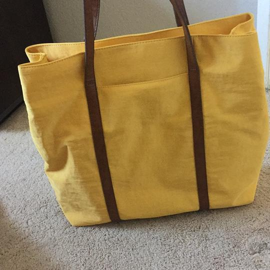 Banana Republic Tote in Yellow with brown leather straps Image 3