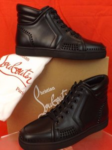 Christian Louboutin Mens Sporty Dude Flat Black Leather Spikes Hi Top Sneakers 40 7