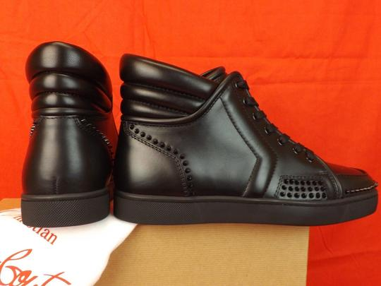 Christian Louboutin Black Mens Sporty Dude Flat Leather Spikes Hi Top Sneakers 40 7 Shoes Image 2