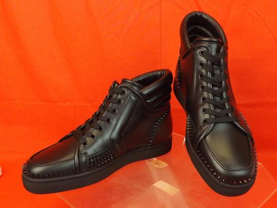 Christian Louboutin Black Mens Sporty Dude Flat Leather Spikes Hi Top Sneakers 40 7 Shoes Image 3