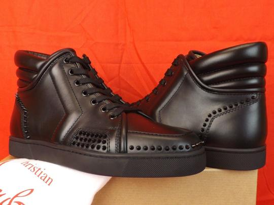 Christian Louboutin Black Mens Sporty Dude Flat Leather Spikes Hi Top Sneakers 40 7 Shoes Image 4