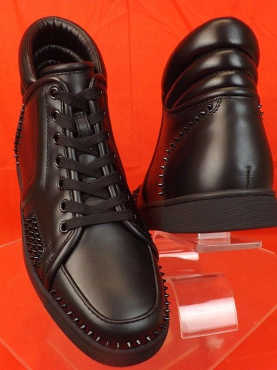 Christian Louboutin Black Mens Sporty Dude Flat Leather Spikes Hi Top Sneakers 40 7 Shoes Image 5