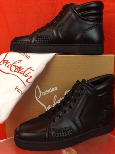 Christian Louboutin Black Mens Sporty Dude Flat Leather Spikes Hi Top Sneakers 40 7 Shoes Image 6