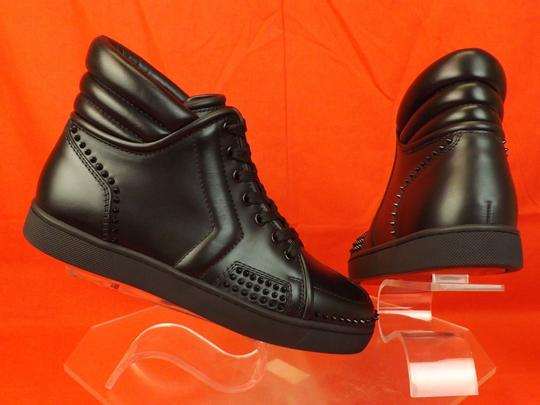 Christian Louboutin Black Mens Sporty Dude Flat Leather Spikes Hi Top Sneakers 41.5 8.5 Shoes