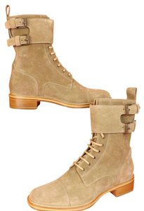 Christian Louboutin Camel/Tan Mens Amory Suede Lace Up Belted 2x Buckle Combat Boots 41.5 8.5 Shoes