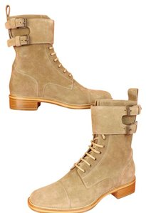 Christian Louboutin Mens Amory Camel Suede Lace Up Belted 2x Buckle Combat Boots 43 10.5