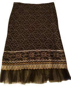 Betsey Johnson Pencil Lace Holiday Embellished Skirt Black, Silver, Gold