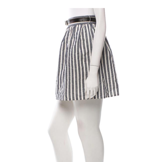 Alice + Olivia Mini Skirt Navy and Creme Image 2