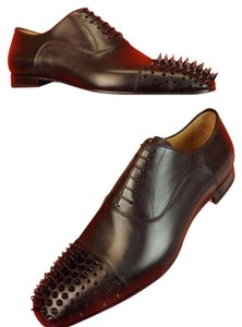 Christian Louboutin Black Mens Gregossic Leather Spike Cap Toe Lace Up Oxfords 41 8 Shoes