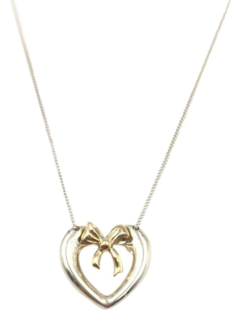 Tiffany Co Silver Vintage Heart And Bow 18k Gold Pendant Necklace Tradesy