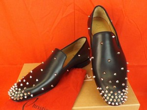 Christian Louboutin Mens Degra Flat Black Leather Silver Studs Studded Loafers 43.5 10.5