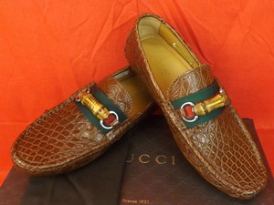 Gucci Cuir/Red/Green Horsebit Mens Caiman Crocco Bamboo Driver Loafers 9.5 10.5 282734 Shoes