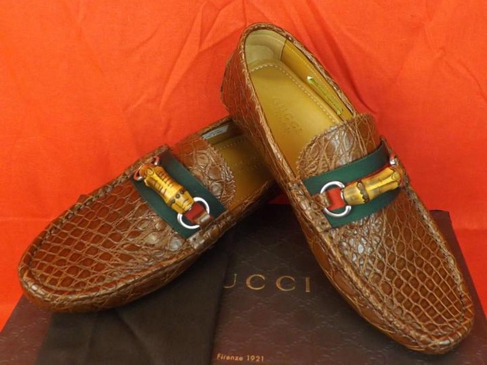 3322597cb14 Gucci Cuir Red Green Horsebit Mens Caiman Crocco Bamboo Driver Loafers 9.5  10.5 282734 Shoes