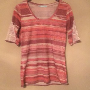 Maurices T Shirt Orange, Pinks and Tans with gold metallic