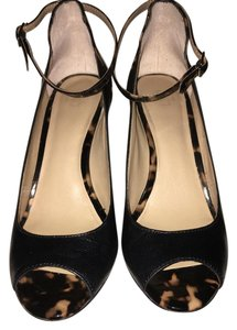 Ann Taylor Ankle Strap Peep Toe Leather Classic Black and Tortoise shell Pumps