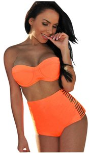 Other 2pc Retro Sexy Swimsuit Swimwear Vintage Push Up Bandeau High Waisted Bikini Set Sz Xl