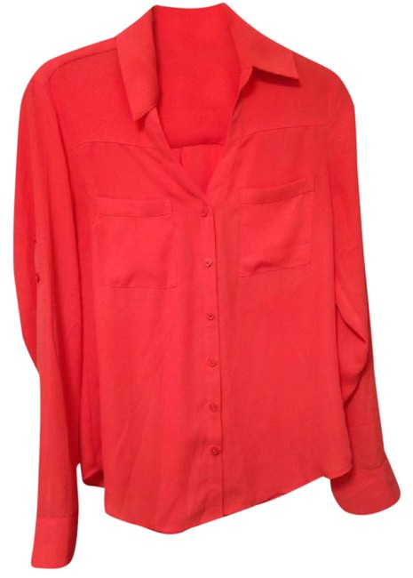 Express Portofino Blouse Summer Button Down Shirt Coral Image 0