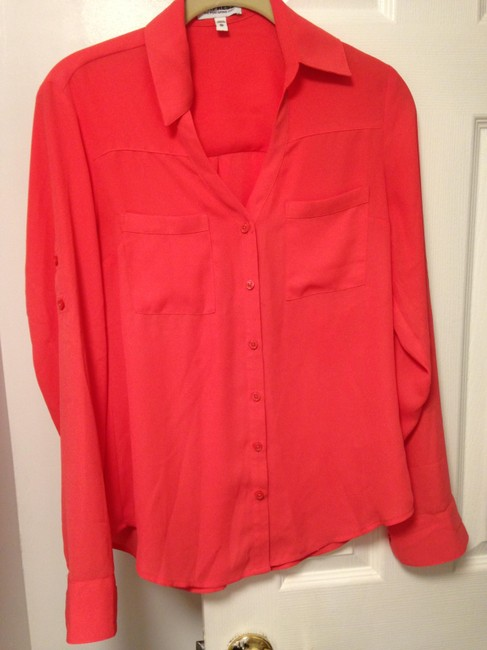 Express Portofino Blouse Summer Button Down Shirt Coral Image 2