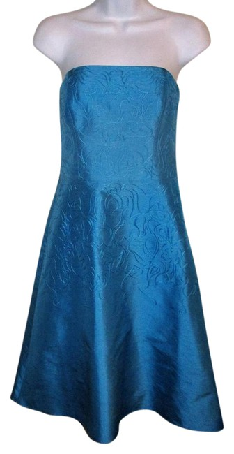 Preload https://img-static.tradesy.com/item/21288405/ann-taylor-turquoise-silk-embroidered-strapless-mid-length-cocktail-dress-size-4-s-0-1-650-650.jpg