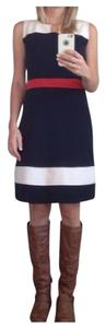 41Hawthorn short dress Navy/Cream/Brick red Colorblock Sleeveless Sheath Ponte Knit on Tradesy