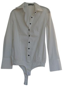 Theme Button Down Shirt White with black buttons