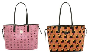 MCM Shopper Project Visetos Neverfull Tote in Pink, Black