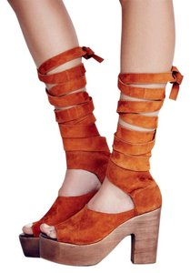 cebf55c78b1 Free People Sandal Suede Wrap Up Whiskey Platforms