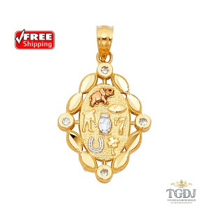 Top Gold & Diamond Jewelry Lucky Pendant, 14K Tri Color Lucky Pendant