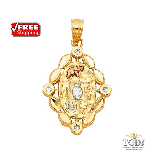 Top Gold & Diamond Jewelry Lucky Pendant, 14K Tri Color Lucky Pendant Image 0