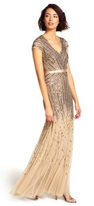 Adrianna Papell Nude Beaded V-neck Gown Style 09286895 Dress