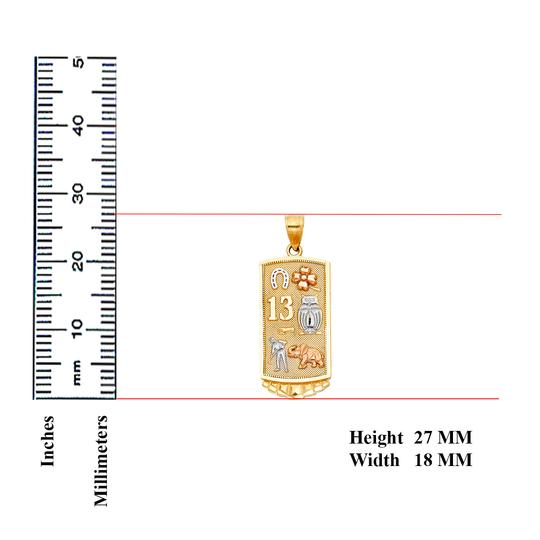 Top Gold & Diamond Jewelry Lucky Pendant, 14K Tri Color Lucky Pendant Image 1