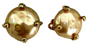 Carolee GOLD VERMEIL STERLING FAUX CREAMY PEARL VINTAGE CLIP BACK EARRINGS