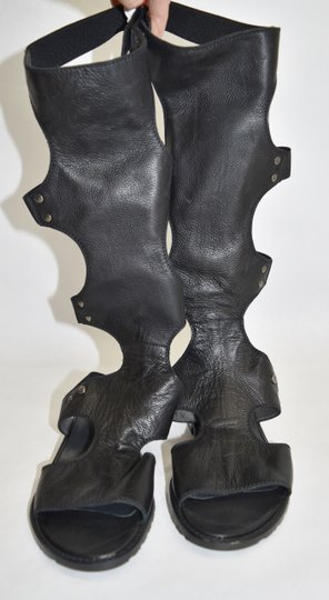 Stuart Weitzman Gladiator Boot BLACK LEATHER Sandals Image 7