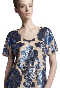 Tracy Reese Sequin Gold Top Nude & Blue