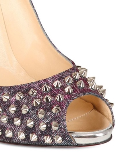 Christian Louboutin Turquoise/purple glitter Flo Spikes Lame Pumps