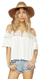For Love & Lemons And Carmine White Lace Button Down Shirt White/Ivory
