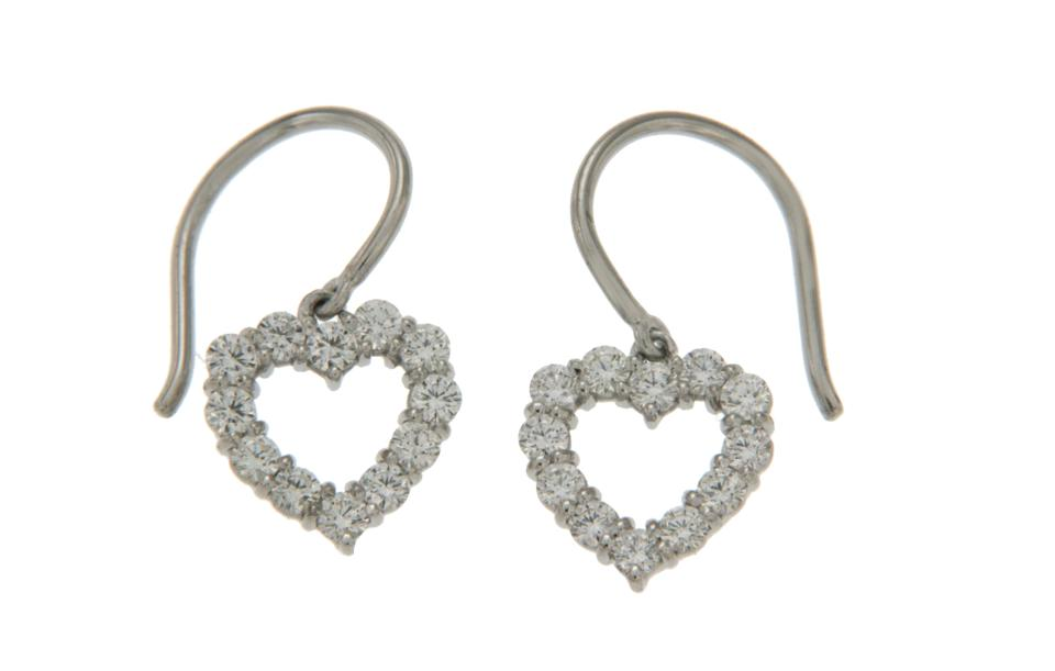 c332f4a55 TIFFANY & CO Vintage 950 Platinum Heart Diamonds Drop Earrings Image 4.  12345