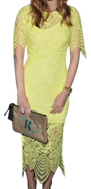 Item - Highlighter Yellow Luna Lace Fitted Midi Long Cocktail Dress Size 0 (XS)
