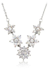 Ocean Fashion Mini crystal flowers clavicle silver necklace