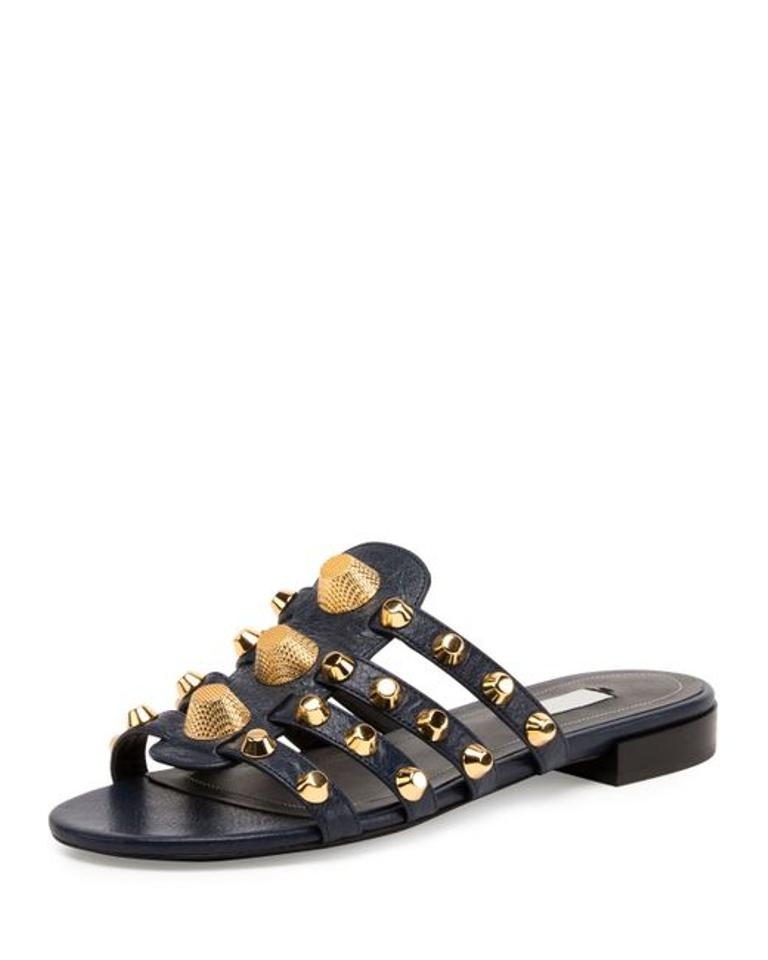 7855c21fd889 Balenciaga Black Women s Studded Caged Flat Slide Sandals Size US 7 ...