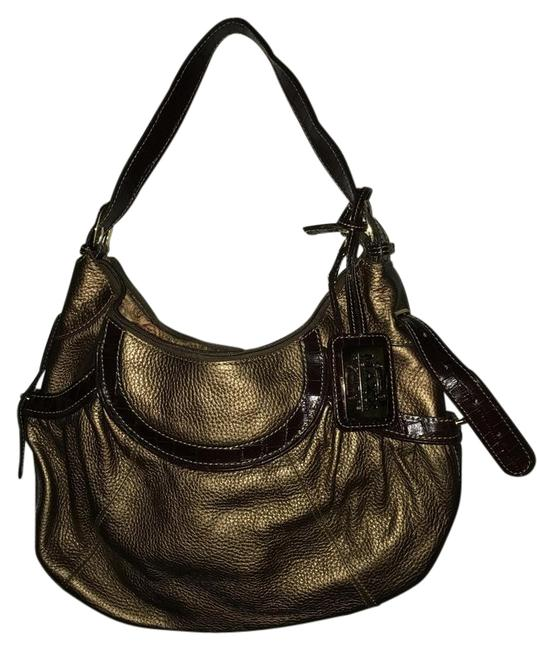 Item - Leather/Polyester Gold and Brown Leather Shoulder Bag