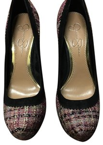 Jessica Simpson Pink plaid, black outline, faux fur chunky heel Platforms