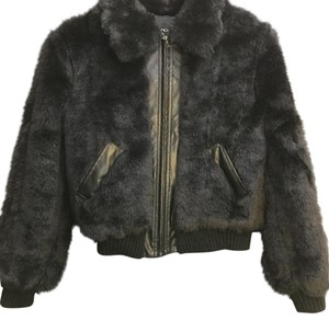 Yoki Faux Leather Bomber Faux Fur Coat
