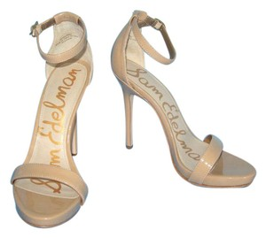 Sam Edelman Patent Leather Eleanor Ankle Strap Beige Almond Sandals