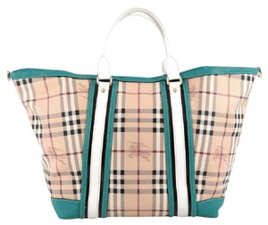 Burberry Canvas Leather Tote in Blue